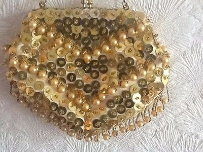 Vintage 1950's/60's  gold beads and sequins Evening Bag