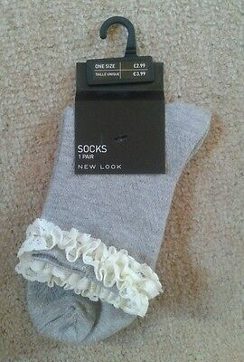 Grey Socks with white frill  -one size - New Look - BNWT