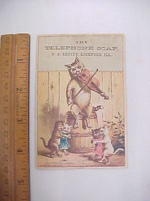 Vintage Advertising Card Try Telephone Soap 1882