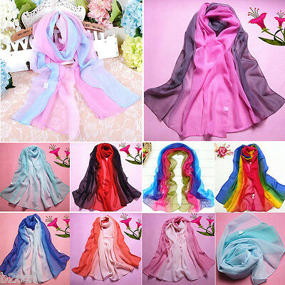 Fashion Women Long Scarf Infinity Gradient Color Chiffon Neck Wrap Shawl Scarves