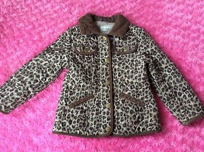GIRLS NEXT BEIGE BROWN ANIMAL LEOPARD PRINT QUILTED JACKET SIZE AGE 5-6 116 cm