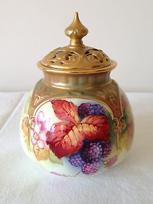 Small Rare Royal Worcester Signed K Blake Lidded Container Potpourri Handpainted