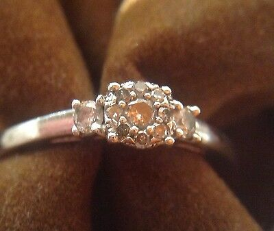Diamond ring  0.20ct  925 Silver Size N  UK POSTAGE ONLY !