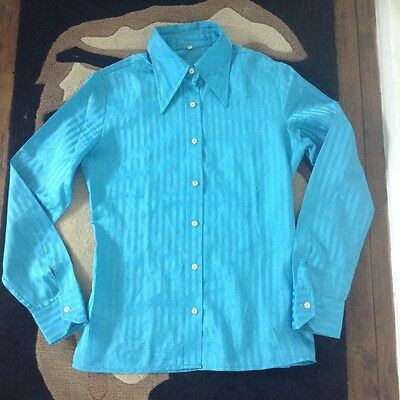 1970's Vintage Fitted Blouse - Shirt  Turquoise - Small