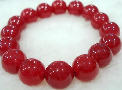 Charming! 10mm Red Ruby Round Beads Bracelet AAA 7.5 inches YL