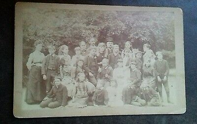 Victorian cabinet photo - large group of teenaged children, school?