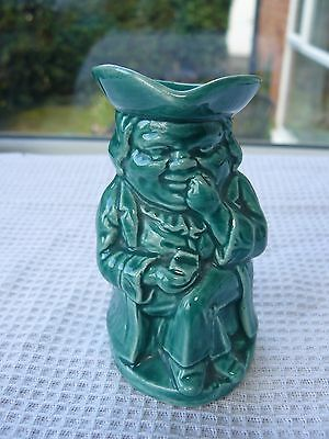 """Burlington Ware Green """"Snuffy"""" Toby jug Collectable Humorous 9cm tall 1959-63"""