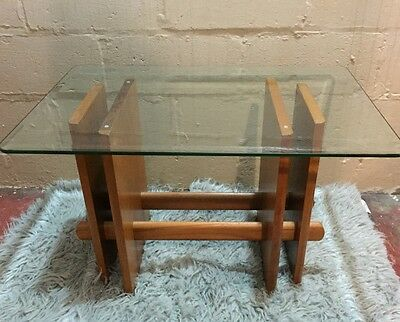 Vintage Mid Century Modern Wood Glass Side Table Danish