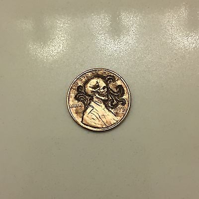 Lincoln penny - skull hand carved coin - coin art - hobo nickel