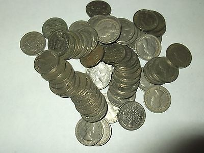 Sixpence Pieces 1960 - 1967  ( 59 In Total )