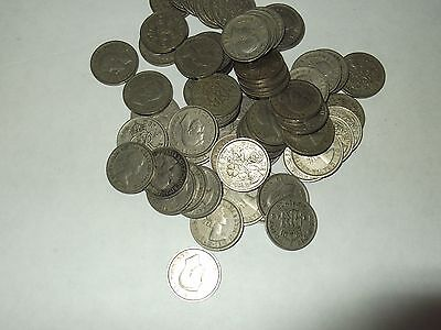 SIXPENCE PIECES  1948-55  (55 in total)