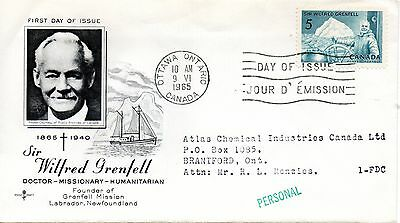 Canada 1965 Fdc Sir Wilfred Grenfell Founder Grenfell Mission Labador Nfld.