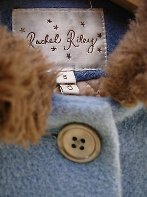 Rachel Riley designer blue coat with faux-fur collar size 6 (fit to 8 years)
