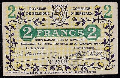 2 Francs Commune D'herseaux From Belgium 1914 With Overprint On Back