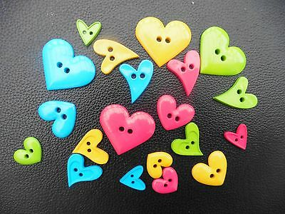 20 Asstd Heart Shaped Buttons Bright Colours