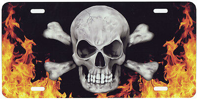 Skull Cross Bones Fire Auto License Plate Gifts Goth Reapers