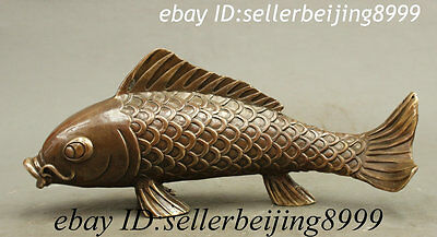Folk China Chinese Bronze Copper Wealth Auspicious Fish Statue Sculpture Set