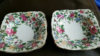 Pair of Crown Staffordshire china trinket/pin dishes