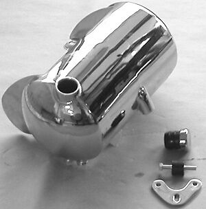 Chrome Ultima Round Domed 3.5 qt Side Fill Oil Tank for 1984-1999 Softail Frames