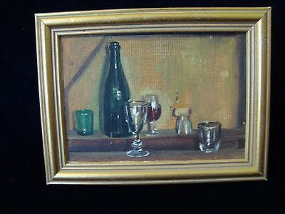 A Vintage Small Oil Painting, Still Life With 'wine Bottle, Glass'.