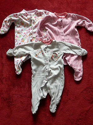 Baby girls ANIMAL & FLOWERS set of 3 baby grows size 0-1 month