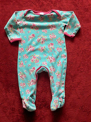 Baby girls MINI CLUB blue with flowers baby grows size 6-9 month