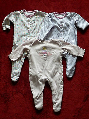 Baby girls ICE CREAM set of 3 baby grows size 0-3 month