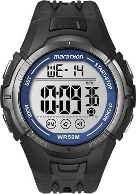Timex Mens marathon chronograph digital Black / Blue watch T5K359