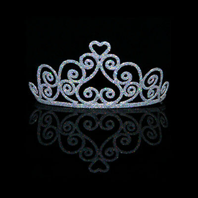 Heart Tiara Adult Princess Crown Metal Silver Glitter Party