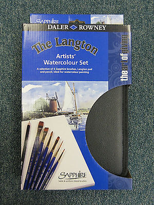 Daler Rowney 6 Sapphire Artists Watercolour Acrylic Paint Brush Gift Travel Set