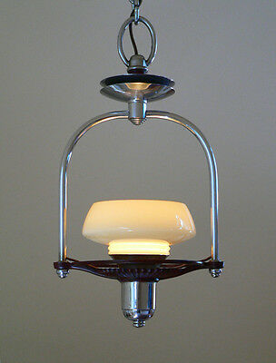 Antique Art Deco chandelier pendant with custard glass slip shade