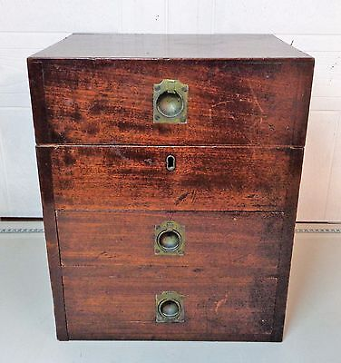 Antique Old Mahogany & Brass Fittings Surgeons Officer Military Campaign Chest