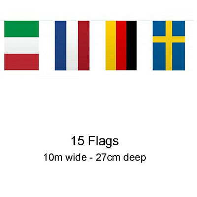 10M EUROPEAN FLAG BUNTING 15 Flags Football Sport Party Decoration 29407