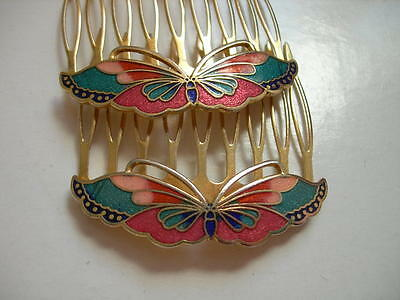 2 Vintage Butterfly Cloisonne Hair Combs,Gold-tone Metal,a Pair,Hair Accessories