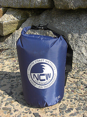 15L roll top dry bag 100% waterproof lightweight nylon taped seams & carry strap