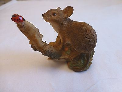 Rare Aynsley Figurine Mouse With Ladybird 1987 Or Earlier In Excellent Condition