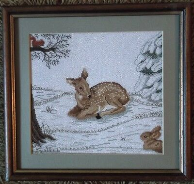 COMPLETED AND FRAMED CROSS STITCH KIT =Forest Clearing with Deer, Bunny+Squirre=