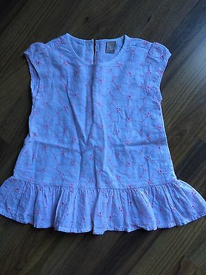 Tu girls White/Pink broderie anglaise style frill top age 3-4 years