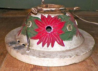 Antique Christmas Tree Stand Cast Iron Poinsettias White Electric Scarce Beauty