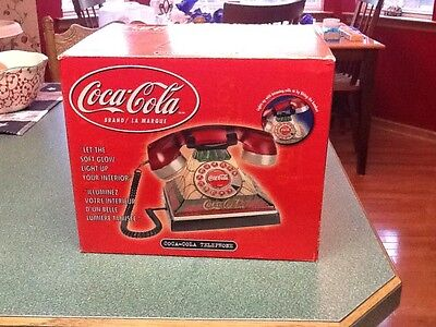 Vintage Style  COCA COLA LIGHTED STAINED GLASS TABLE Night Stand TELEPHONE NIB