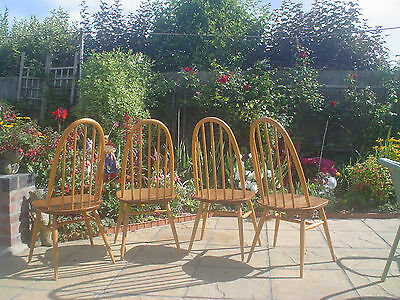VINTAGE ERCOL SET of  QUAKER CHAIRS IN THE LIGHT FINISH