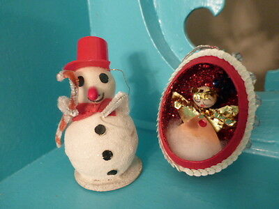Cute Vintage Christmas Spun Cotton Snowman and Angel in Egg Beaded Ornament