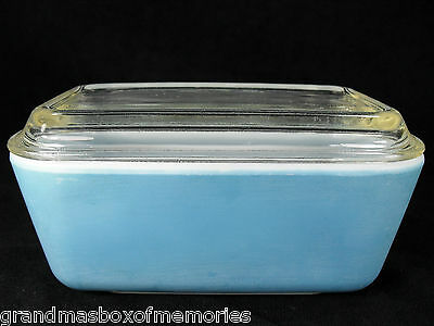 PYREX Blue Rectangular Refrigerator Glass with Clear Lid #502-B GREAT CONDITION!