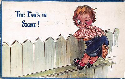 POSTCARD  COMIC    CHILDREN   The  end's  in  sight