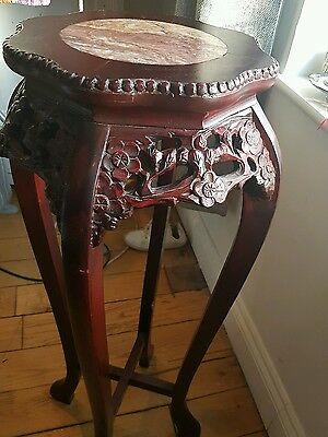Carved Rosewood / Marble Top Plant Stand / Lamp Stand / Table
