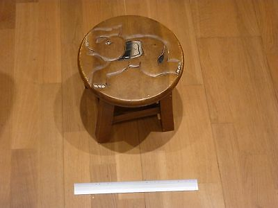Wooden carved elephant stool seat small table suitable for child