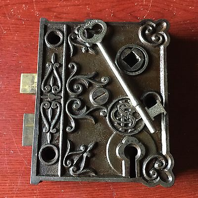 Antique SHC Victorian Eastlake Era Decorative Rim Lock With Skeleton Key #1