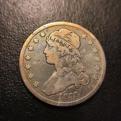 1838 P Capped Bust Quarter Dollar VF+/XF Very Fine Type Coin 25c