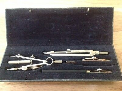 """Vintage Drawing Set In Blue Hard Case Velvet Style Lining With Double Lock 8X3"""""""