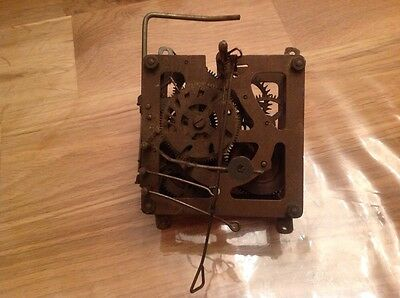 Antique Cuckoo Clock Movement Chiming Weight Driven Approx 3.5x4""